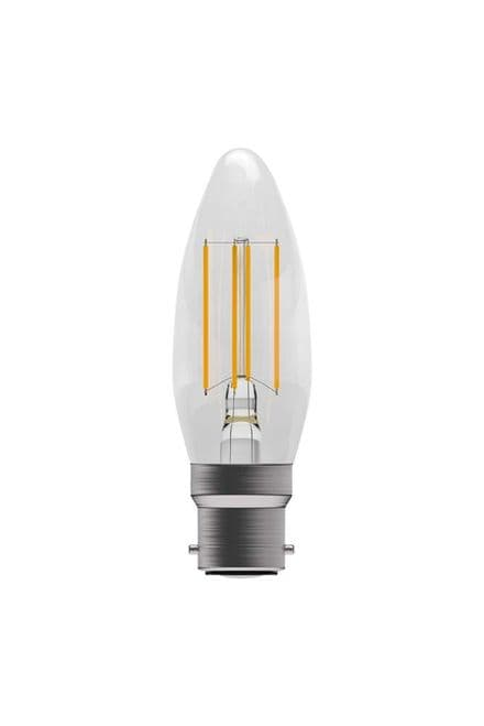 BELL 60114 4W LED Dimmable Filament Candle BC Clear 4000K